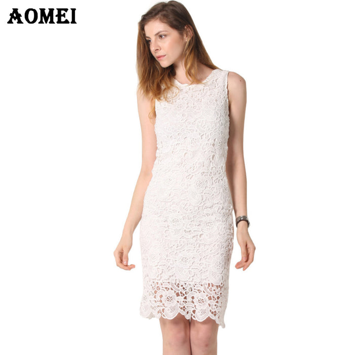 Summer Little Black Lace Dresses for Women Sleeveless Office Lady Elegent