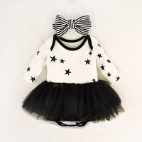 Newborn Baby Dress Infant Girls Mesh Tutu Dresses Pentagram Jumpsuit & Stripe Bow Headband Girl Clothes Set