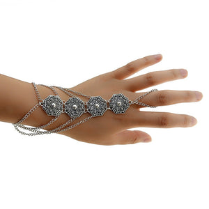 Bohemian Vintage Gypsy Multilayer Tassel Finger Hand Harness Carving Flower