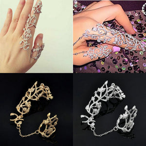 New Fashion Punk Rock Gothic Gold Silver Hollow Carved Flowers Double Full
