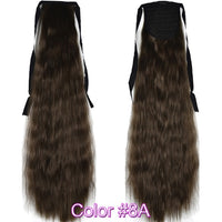 "TOPREETY Heat Resistant B5 Synthetic Hair Fiber 22"" 55cm Kinky Straight Ribbon Ponytail Hair Extension 40 Colors Available"