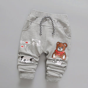 Daivsxicai Pants Boys Cotton Fashion Casual Cute Cartoon Bear Pants Baby All-Match Newborn Pants For Children 7-24 Month