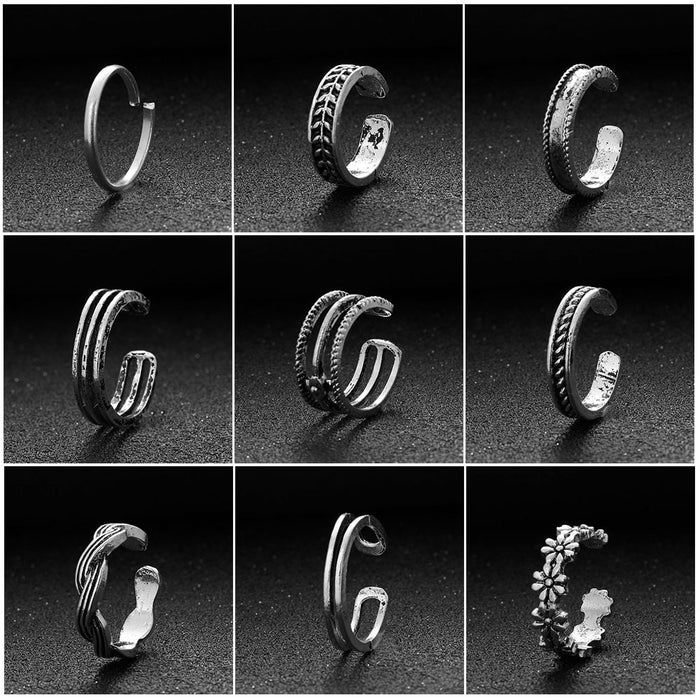 12Pcs/lot Adjustable Carving Floral Open Band Toe Finger Rings Retro Beach Rings Jewelery Carved Ring Fashion Jewelry Nice Gift