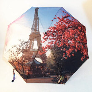 Paris Tower/Victoria Station Oil Painting Umbrellas Women 3 Folding Fashion Automatic Umbrella Anti-UV Sun/Rain Umbrella Parasol
