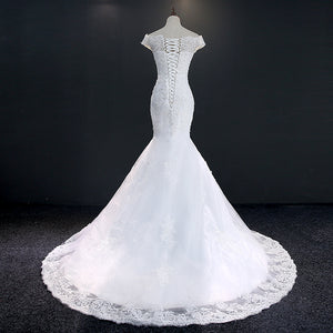 Fansmile Real Photo Vestidos de Novia Vintage Lace Mermaid Wedding Dress 2019