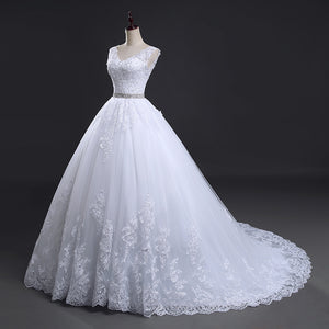 Lace Long Train Ball Wedding Dresses 2019 Bridal Dress Wedding Gowns