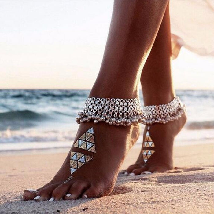 Fashion Sexy Antique Silver Anklet Chain Lots Bell Beads Ankle Bracelet For Women Beach Barefoot Sandal Foot Jewelry 1pc