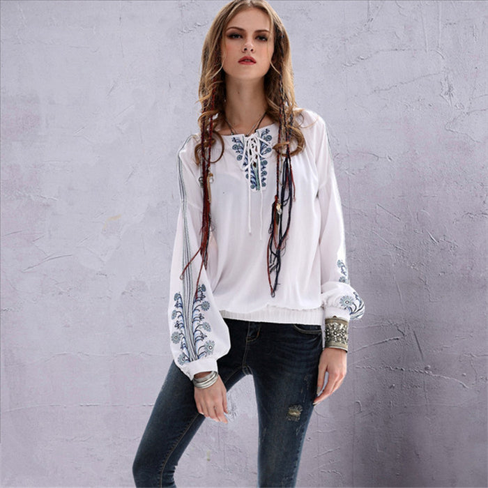 Vintage Private Tailor Women Blouse Women's Cotton Linen Ethnic Long Sleeve Shirt V-Neck Loose Blusa Feminina Classical Blouse