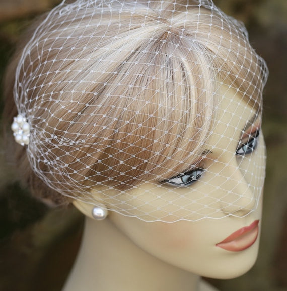 White pearl wedding veil bridal birdcage veil cathedral wedding veil