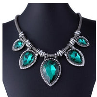 Fashion Green Chokers Necklaces For Women Silver-Color Choker Chain