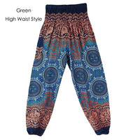 CHRLEISURE Autumn High Waist Harem Pants Women Bohemian Loose Pantalon Femme Print Bloomers Trousers Women 10 Colors