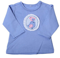 Baby T-shirt Long Sleeves New Born Baby  Tees  0-6 Months Boys And Girls Cute Bird Tops Blue And White Cartoon Clothes