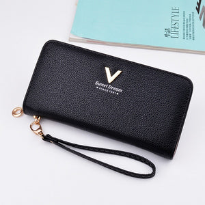 Brand Designer Leather Wallets Women Purses Zipper Long Coin Purses Money Bags Card Holders Clutch Wristlet Phone Wallets Female