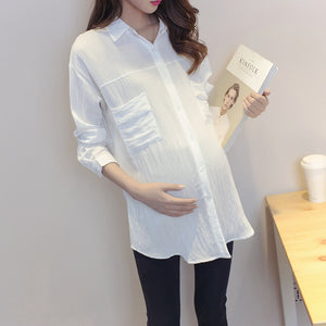 Maternity Shirt Korean Blouse Clothes for Pregnant Women Long Sleeve Maternity
