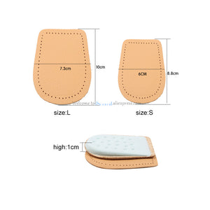 Leather Latex Foot Care Insoles Half Size Thickened Heel Pads Cowskin Flat