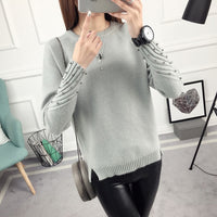 OHCLOTHING 2017 new spring Korean Short all-match winter sweater knitted shirt with long sleeves loose women sweater pullover