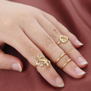 New Anillos Gift Bijoux Boho Stacking Midi Finger Knuckle Rings Charm Crystal Love Leaf Heart Ring