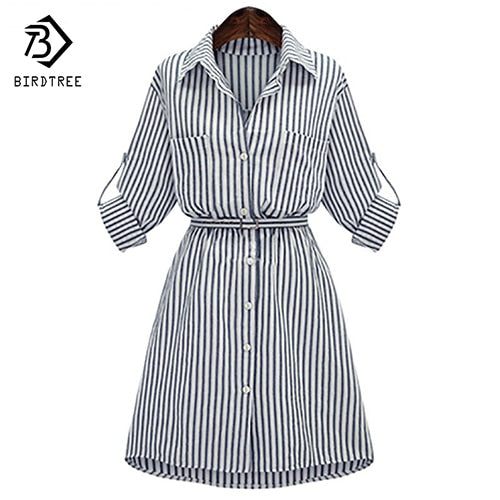 Spring Vintage Plus Size Long Sleeve Work Dresses Women Cotton Casual