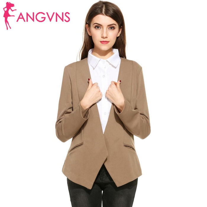Women Formal Blazer Open Front Draped Asymmetric Coat Solid Autumn