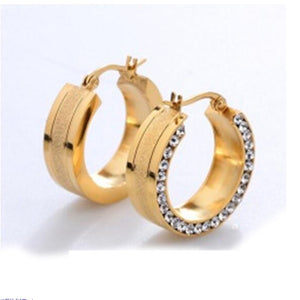 Gold Rose Gold Stainless steel Earring for Women Round White Crystal Cubic