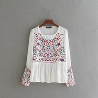 VOGUEIN New Womens Ladies Floral Embroidered Long Sleeve Pullover Blouse Tops Shirt Size SML