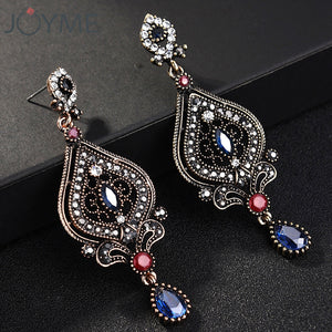 Joyme Ethnic Style Vintage Women Blue Crystal Long Turkish Earrings Acrylic Jewelry