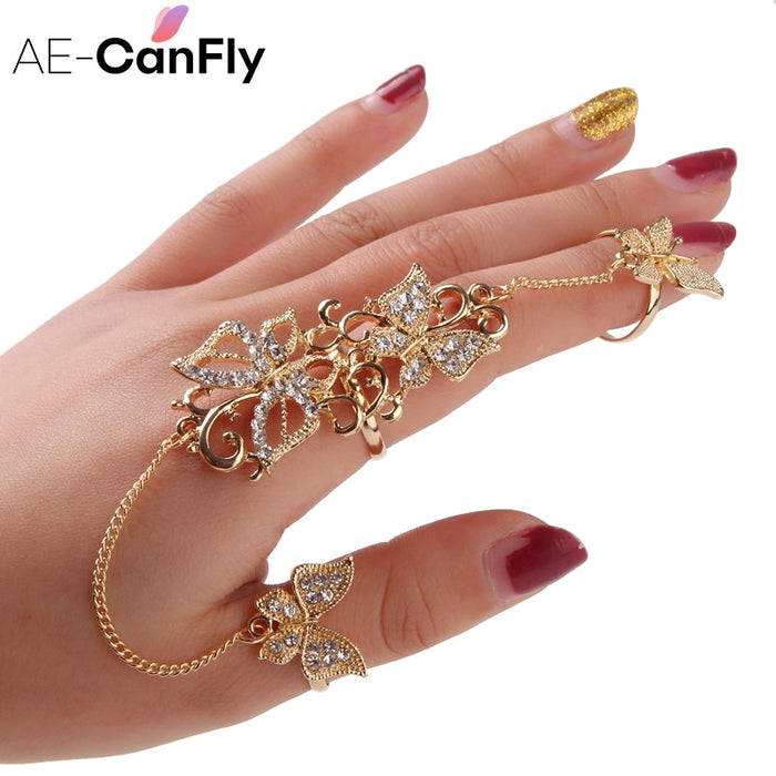 Rhinestone Flower Butterfly Full Finger Rings for Women Gold Chian Link Double