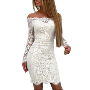 Elegant Slash Neck Lace Women Dresses Sexy Bodycon Long Sleeve Slim Party Cocktail Mini Dress