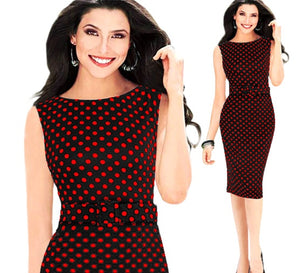 Oxiuly 5XL Vintage Sheath Dot Sleeveless Puff Natural Wear to Work Business Office Knee-length Stretch Fitted Pencil Dress