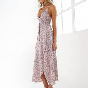 Floral Print Chiffon Long Dress 2019 Sexy V Neck Backless Boho Beach Dress Vestidos Women Split Summer Sundress Maxi Dress