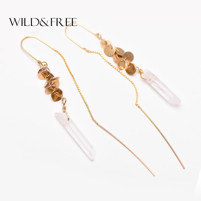 WILD & FREE Vintage Natural Stone Drop Earrings Retro Gold Long Ear Line Leaves