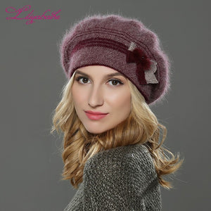 LILIYABAIHE NEW Style Women winter hat knitted wool angora beret classic Patchwork of mink flower decoration cap Double warm hat