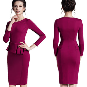 Nice-Forever Women Vintage 3/4 sleeve Peplum zipper Office vestidos Business Party Evening Casual Pencil Office Dress g635