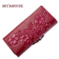 Leather Women Wallets Embossed Floral Long Purses Female Card