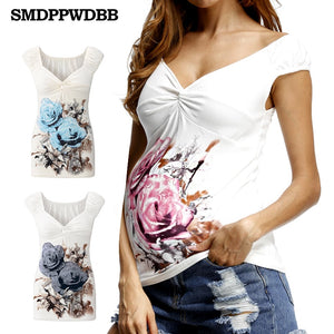 SMDPPWDBB Summer White Maternity T Shirt Fashion Maternity Tops For Pregnant Women Nursing Tops V-Neck Sexy Women Clothes