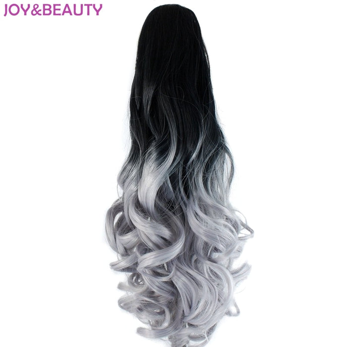 "JOY&BEAUTY Hair Black Gray Ombre Synthetic Hair Long Wavy Claw Ponytails 22"" 55cm Pony Tail Heat Resistant"