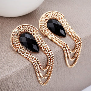 2017 Women Waterdrop Tassel Earrings Chunky Ear Accessories Gold Color