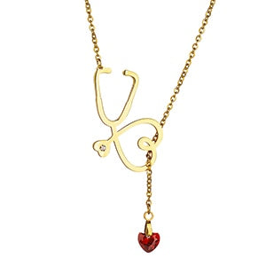 Fashion Accessories Stethoscope Lariat Heart Pendant Necklace CZ Stone Nurse Medical Necklace Collares Female