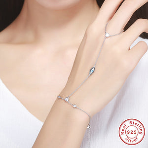 925 Sterling Silver Finger Bracelet & Bangle with Zircon Stone for Women Hands