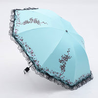 6 Colors Plum Flower Blossom Parasol lace three folding umbrella UV brand Sunny