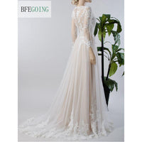 Ivory Lace Tulle Long Sleeves   Floor-Length  V-Neck   A-line Wedding Dress Court Train  Custom made