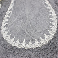 3M Cathedral Length Lace Edge Bridal Head Veil + Comb Long Wedding