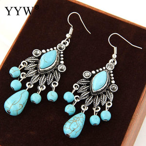 YYW Ethnic Bohemian Women Teardrop Black Vein Turquoises Earring Antique Silver