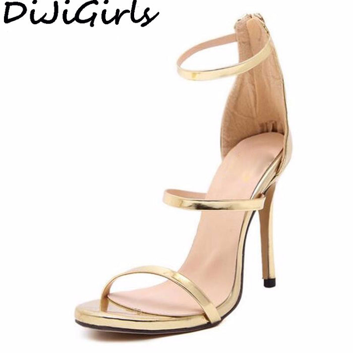 DiJiGirls women new concise simple strappy open toe ankle strap mary jane stiletto