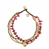AMOURJOUX Multilayers Handmade 5 Colors/Stones Bell Leg Anklets For Women Ankle Bracelet Woman Anklet Female Foot Jewelry