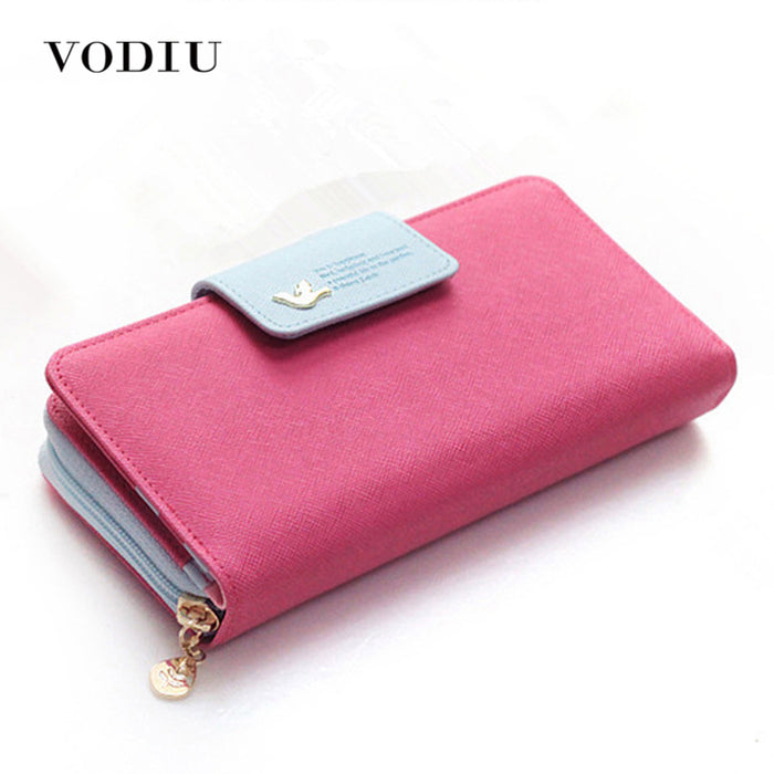 Large Capacity Women Long Slim Wallet Female Coin Purse  Leather Zipper Clutch Lady Handbag Phone Card Photo Holder Wristlet