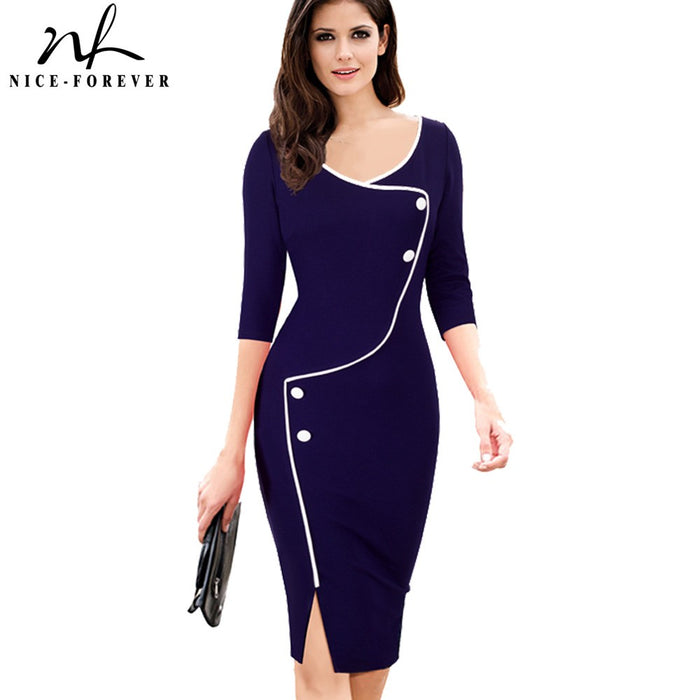 Nice-forever Vintage Brief Split Bottom Elegant Casual Work 3/4 Sleeve Deep O-Neck Bodycon Knee Women Office Pencil Dress B329