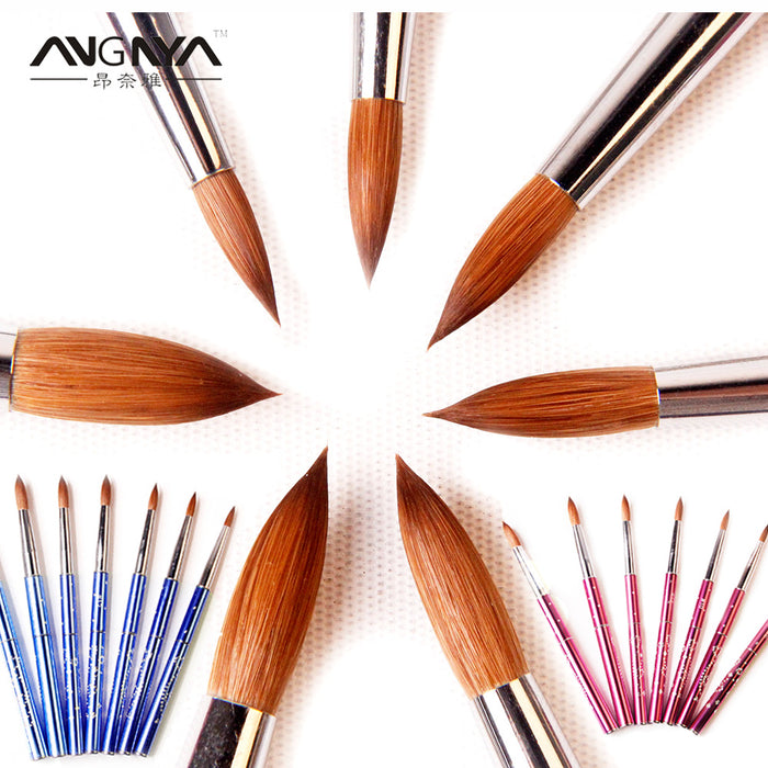 ANGNYA New 1pcs #2#4#6#8#10#12#14#16#18#20#22 Kolinsky Sable Brush Acrylic  Nail Art Brush Pink Metal Crystal Acrylic Salon