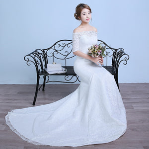 Short Sleeves Boat Neck Mermaid Train Wedding Dresses Cheap Red White