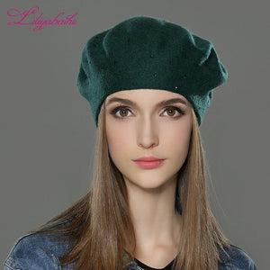 LILIYABAIHE new style Women Winter Hats  wool Knitted Berets Cap  the most popular decoration Thick Warm Hats for Women